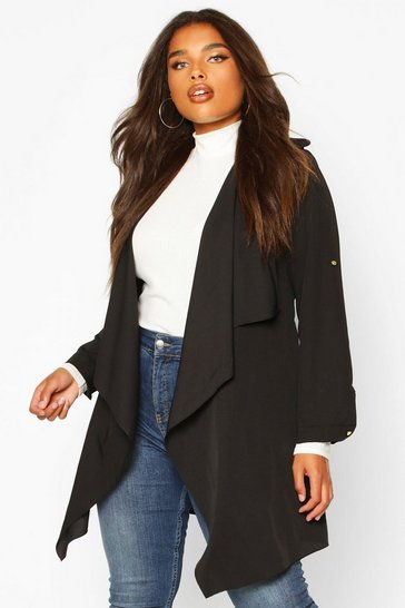 Black Plus Waterfall Military Detail Belted Jacket