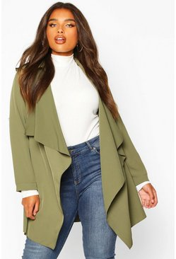 Khaki Plus Waterfall Military Detail Belted Jacket