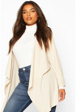 Stone beige Plus Waterfall Military Detail Belted Jacket