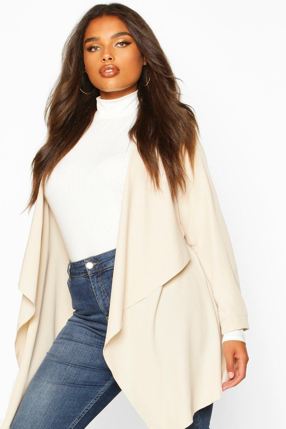 Plus Size Coats & Jackets Plus Waterfall Military Detail Belted Jacket