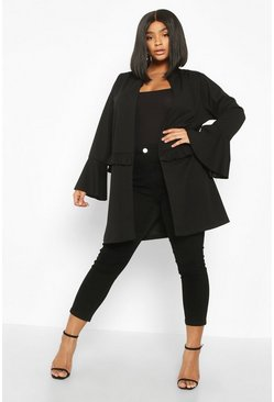 Black Plus Ruffle Detail Collarless Jacket