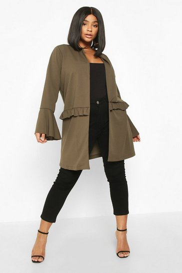 Khaki Plus Ruffle Detail Collarless Jacket