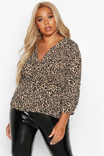 Brown Plus Leopard Print Wrap Peplum Top
