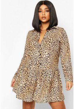 Brown Plus Leopard Print Woven Smock Dress