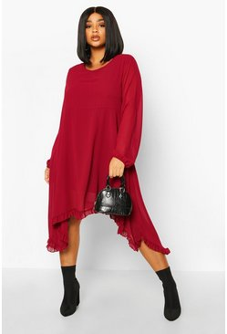Berry red Plus Ruffle Dip Hem Longsleeve Smock Dress