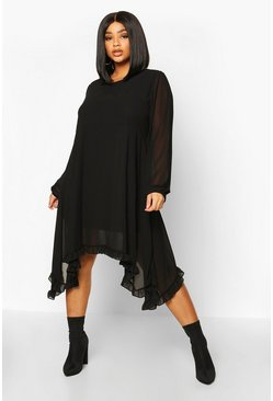Black Plus Ruffle Dip Hem Longsleeve Smock Dress