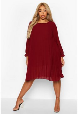 Berry red Plus Pleated Swing Dress