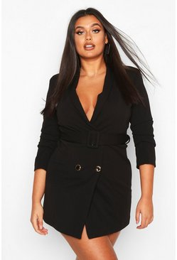 Black Plus Double Breasted Gold Button Blazer Dress
