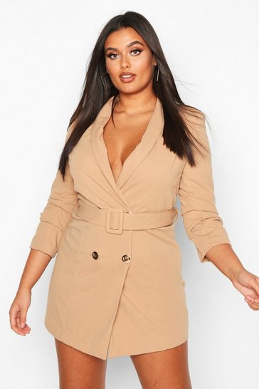 Stone beige Plus Double Breasted Gold Button Blazer Dress