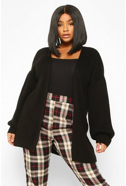 Black Plus Bell Sleeve Knitted Cardigan