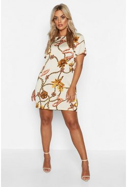 Ivory white Plus Floral Chain Cap Sleeve Shift Dress