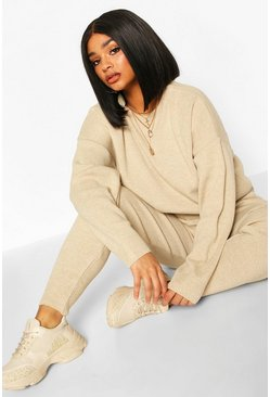 Stone beige Plus Crew Neck Slouchy Knitted Lounge Set