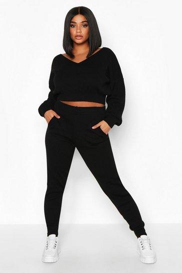 Black Plus Cropped V Neck Knitted Loungewear Set