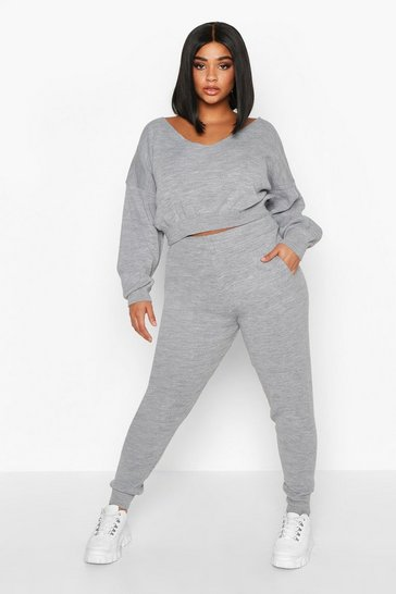 Grey Plus Cropped V Neck Knitted Lounge Set