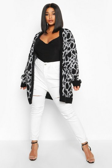 Grey Plus Jacquard Animal Print Cardigan