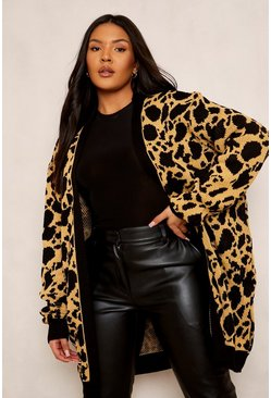 Tan brown Plus Jacquard Animal Print Cardigan