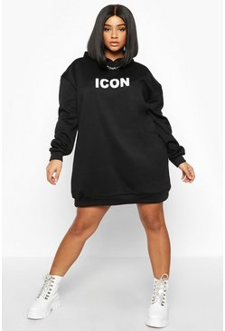 Black Plus 'Icon' Oversized Hooded Sweat Dress