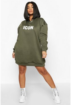 Khaki Plus 'Icon' Oversized Hooded Sweat Dress