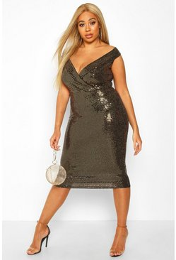 Gold metallic Plus Sequin Off The Shoulder Midi Dress