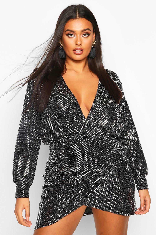 Plus Sequin Wrap Dress 8