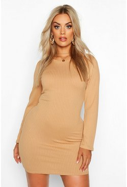 Gold Plus Jumbo Rib Long Sleeve Bodycon Dress