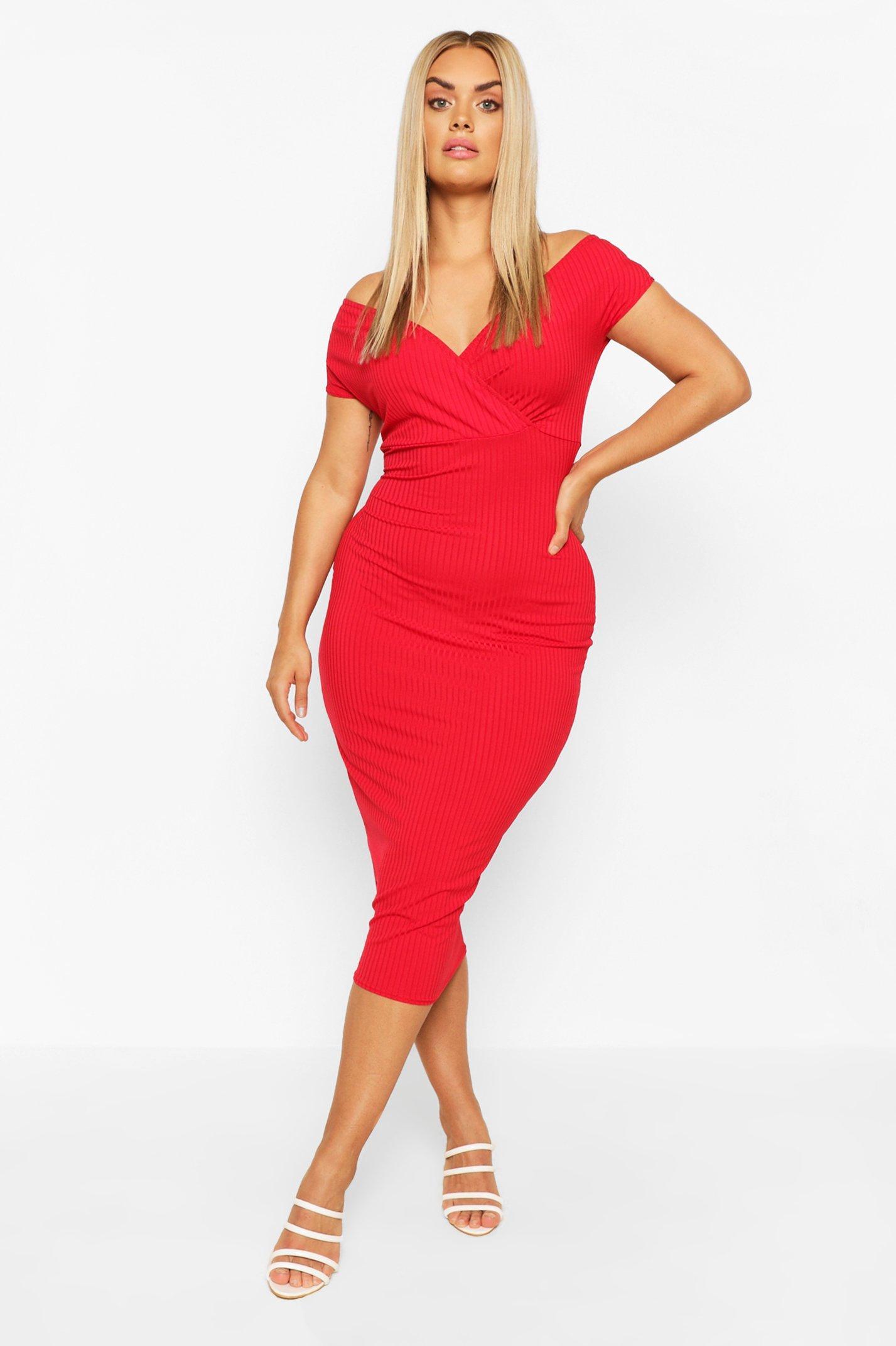 Plus Jumbo Rib Bardot Midi Dress 6