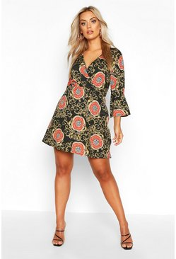 Black Plus Chain Print Wrap Skater Dress