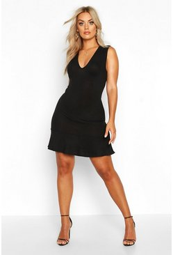 Black Plus Plunge Jumbo Rib Frill Hem Mini Dress