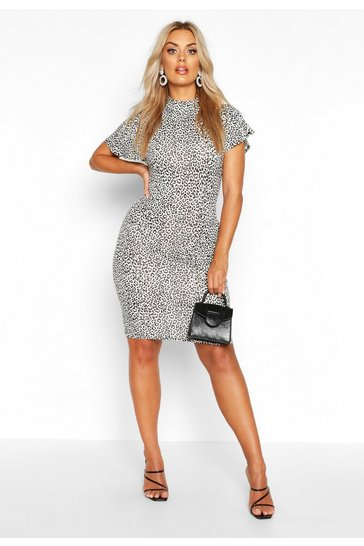 White Plus Snow Leopard High Neck Bodycon Dress