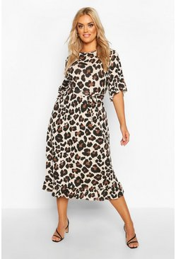 Brown Plus Leopard Ruffle Tie Waist Midi Smock Dress