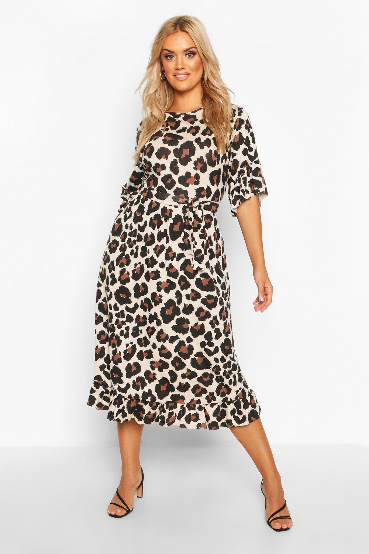 Plus Leopard Ruffle Tie Waist Midi Smock Dress 6