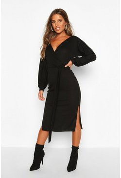 Black Petite Wrap Ribbed Midi Dress