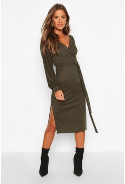 Khaki Petite Wrap Ribbed Midi Dress