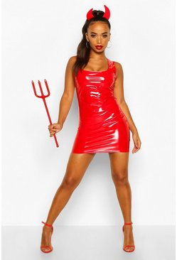 Red Petite Vinyl Square Neck Mini Dress
