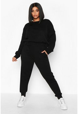 Black Plus Slash Neck Knitted Set