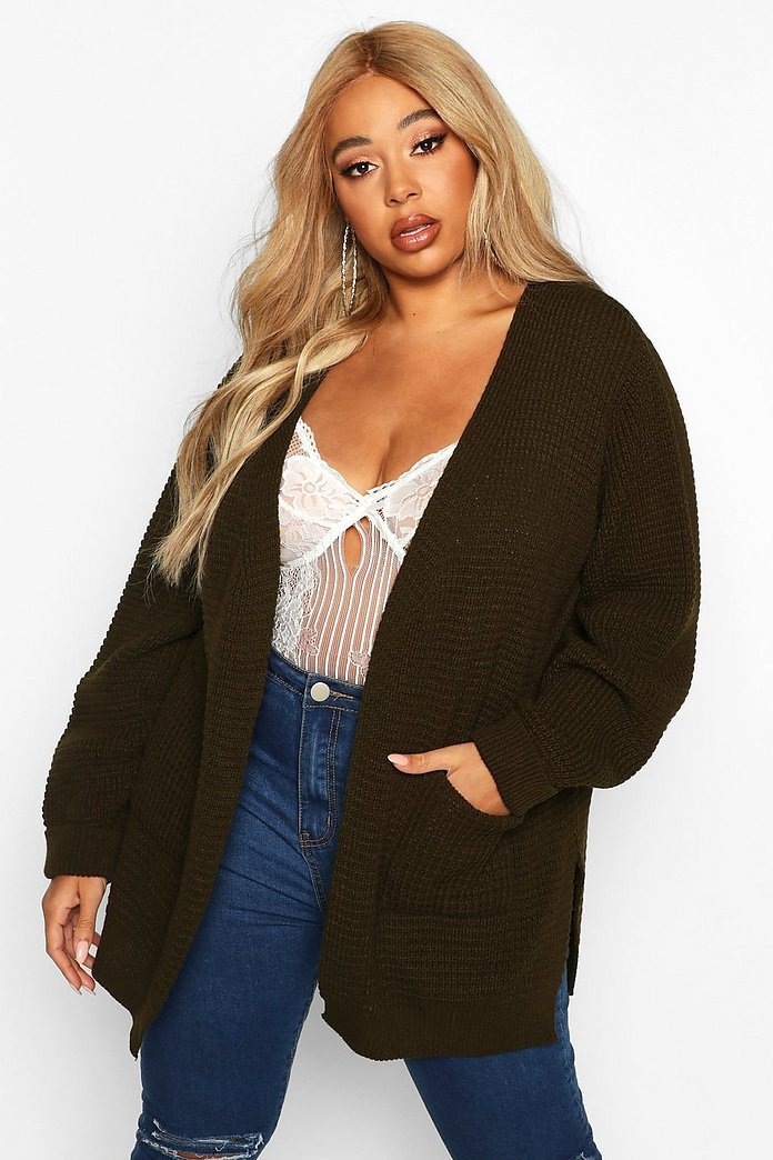 Plus Waffle Knitted Chunky Oversized Cardigan | Boohoo UK
