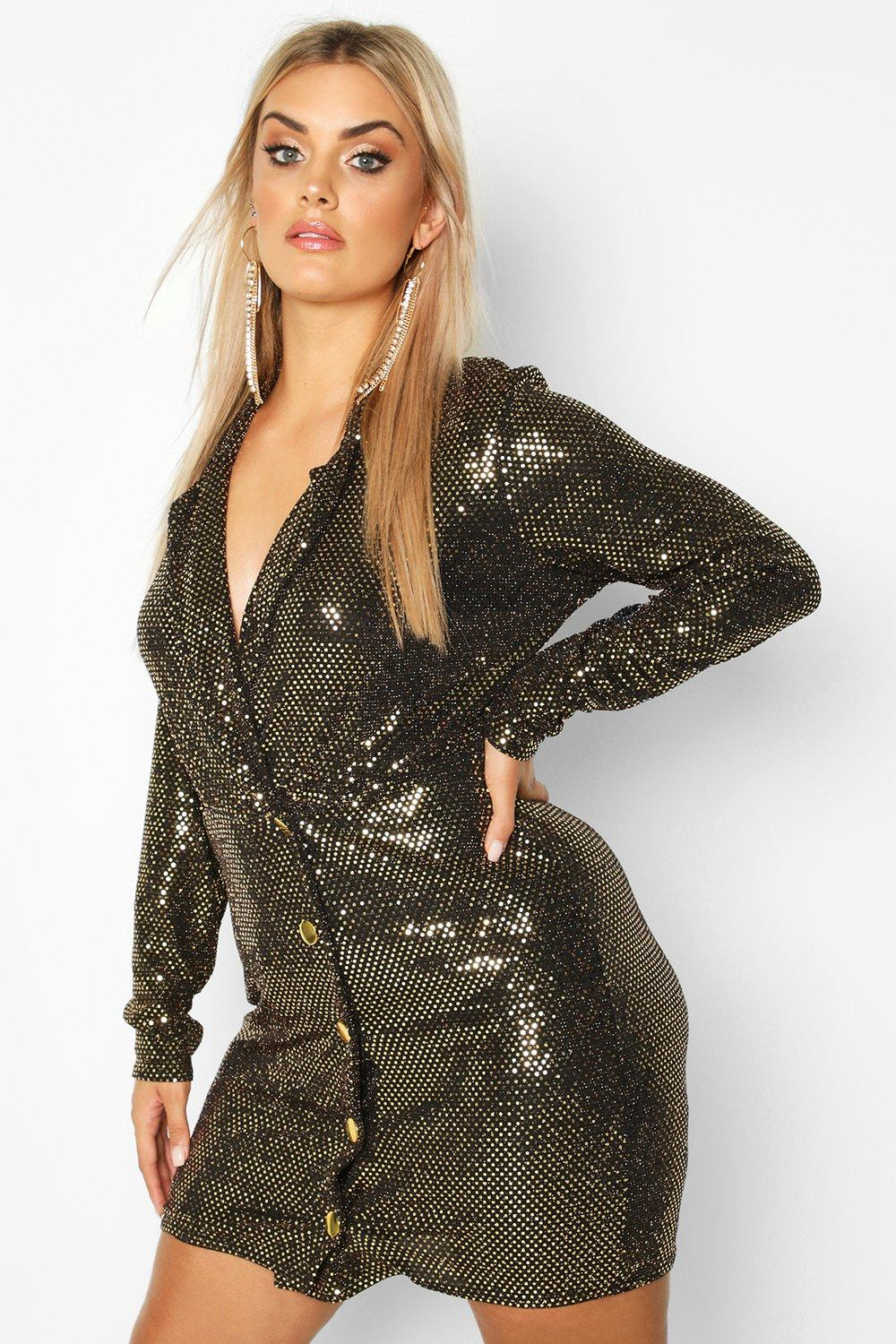 Plus Sequin Wrap Blazer Dress 4