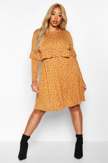 Mustard yellow Plus Ditsy Floral Ruffle Smock Dress