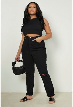 Black Plus Ripped Knee Mom Jeans