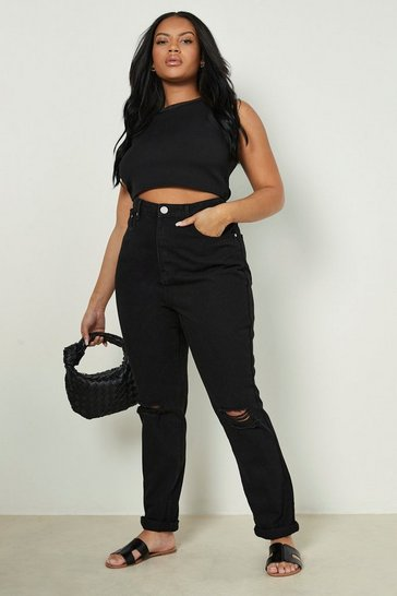 Black Plus Ripped Knee Mom Jeans