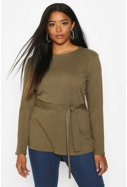 Khaki Plus Rib Dip Hem Self Belt Top