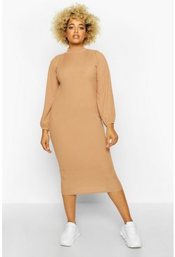 Camel beige Plus Rib High Neck Blouson Sleeve Midi Dress