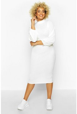 Ivory white Plus Rib High Neck Blouson Sleeve Midi Dress