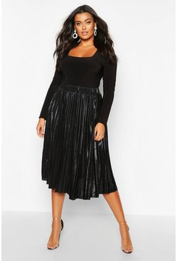 Black Plus Metallic Pleated Midi Skirt