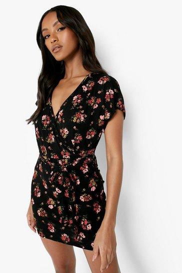 Black Petite Ditsy Print Wrap Dress