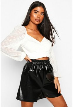 White Petite Wrap Dobby Sleeve Top