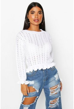 White Petite Textured Frill Hem Knitted Sweater