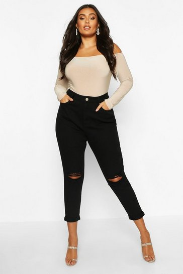 Black Plus High Waist Rip Knee Mom Jean