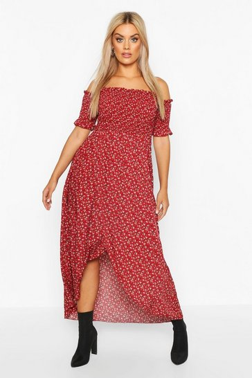 Berry red Plus Ditsy Off Shoulder Maxi Dress