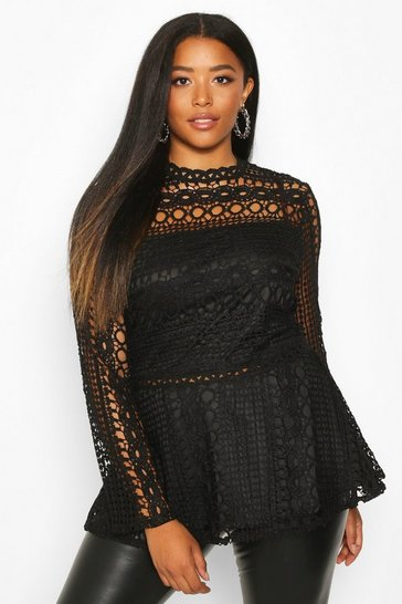 Black Plus Lace High Neck Peplum Top